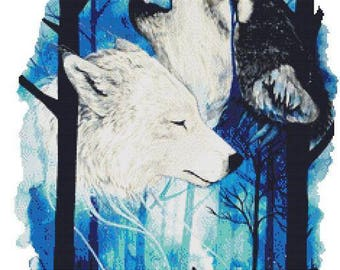 Howling Wolf Cross Stitch Kit, Scandy Girl, 'I'm Still Here', Counted Cross Stitch Kit, Wolves Cross Stitch Kit, Geckorouge Cross Stitch,