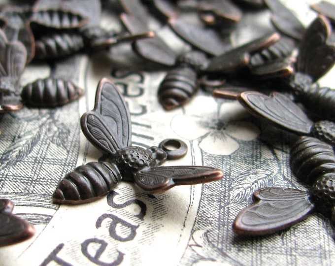 Busy Bee charms, black antiqued brass (6 charms) upturned wings, black bee charm, flying bee charm, honey bee in flight, 19mm wingspan