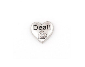 Deal Floating Charms for Living Lockets, Glass Memory Lockets,Love Heart with 1 Rhinestones