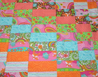Quilt shop quilts quilts quilt tops and by quiltshopquilts bright modern baby quilt nursery quilt baby blanket baby girl shower gift teal orange pink green negle Images