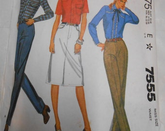 "Vintage PATTERN McCalls 7555 Misses' Jeans and Jean Skirt Size 14 Waist 28"""