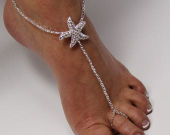 Beaded barefoot sandals, foot jewelry, Beach wedding Barefoot Sandals, Foott Thongs, Footless sandals, Bridesmaid gift, Soleless Shoes