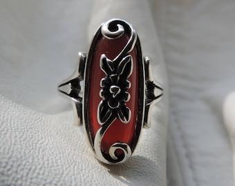 art deco ring carnelian sterling silver cornelian deco ring