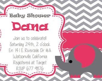 girl baby shower elephant  Invitation Personalized, Custom, You Print as many as u need digital