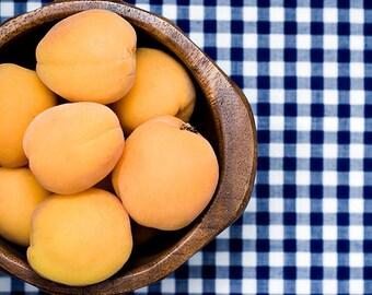 gift under 50 Fruit Photography apricot photograph food wall art chef decor orange blue picnic summer kitchen decor 8x10
