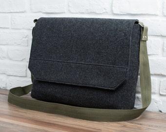 "Felt laptop bag, laptop messenger, MacBook bag, laptop bag for men, 13"" MacBook Air, Gopher"