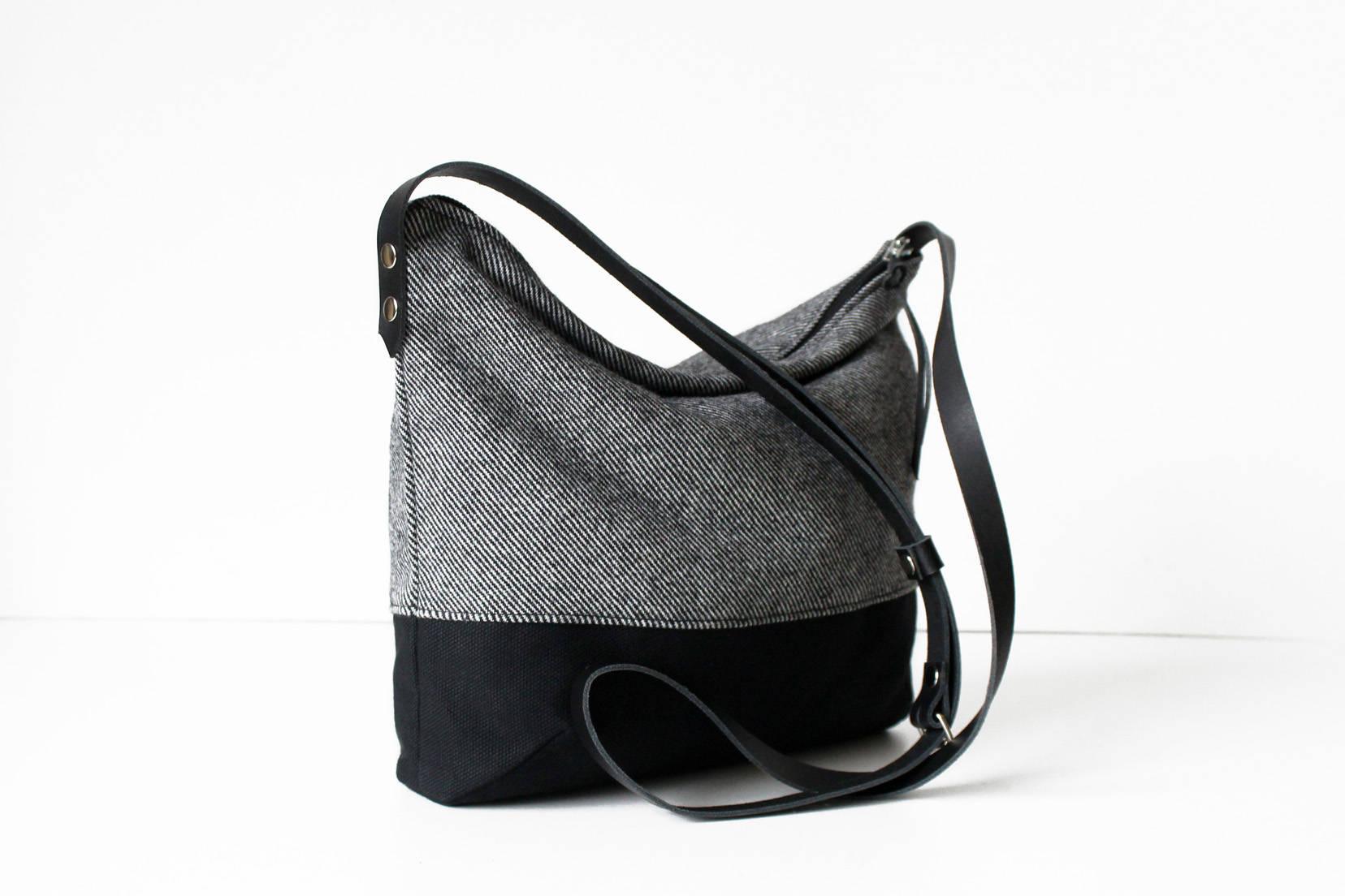Umhängetasche Crossbody Tasche schwarz grau Stoff