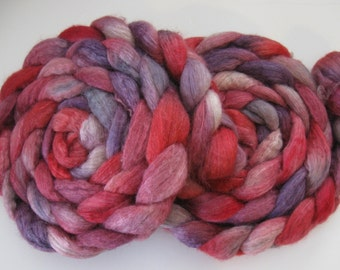Valentine Wishes - Silk and BFL Wool Roving (Top) - Handpainted Spinning or Felting Fiber - 4.1 ounces