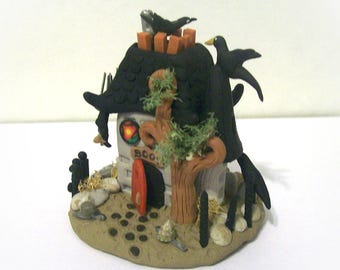 Haunted Horror Miniature House Unique Fantasy Sculpture Terrarium Ornament Artist Signed Handmade Detailed Collectible