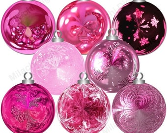 60% OFF SALE Christmas pink ornaments clipart,holiday ornaments clipart, ornament clip art, digital elements, commercial use - M430