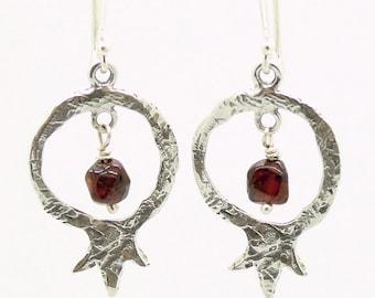 Pomegranate earrings with garnet gemstone