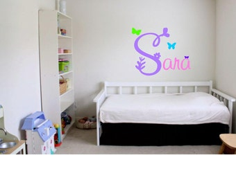 Name Decal, Butterfly, Wall Vinyl, for Child's Room, Nursery