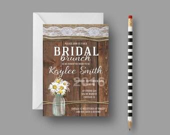 Rustic Country Bridal Brunch Invitation, Daisy Mason Jar Bridal Shower
