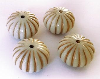 18x12.5mm Antique Ivory beige Gold line enlaced pumpkin round rondelle acrylic beads 8pcs