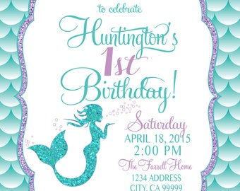 Mermaid birthday invitation little mermaid party invite under on sale mermaid birthday invitation mermaid party invite under the sea mermaid glitter filmwisefo Gallery