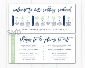 wedding itinerary, wedding timeline, guest schedule, guest timeline, welcome kit, destination wedding, out of town, PRINTABLE or PRINTED