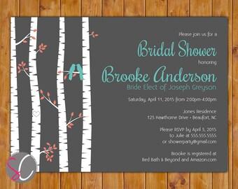 Birch Tree Bridal Shower Bird Invite Rustic Country Woods Turquoise Coral Invite 5x7 Printable JPG Invite (431)