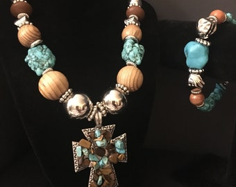 Wooden amd Turquoise colored Cross Necklace and Bracelet Set