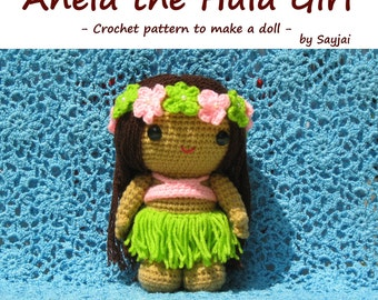 ENGLISH Instructions - Instant Download PDF Crochet Pattern Anela the Hula Girl