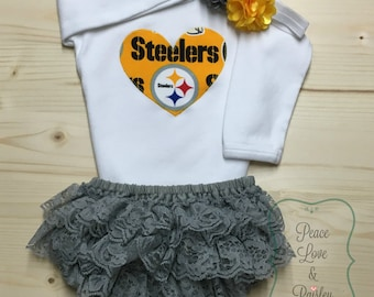 Pittsburgh Steelers Bodysuit, Lace Diaper Cover and Headband Set Made from Steelers Fabric, Steelers Baby Outfit, Baby Girl Steelers