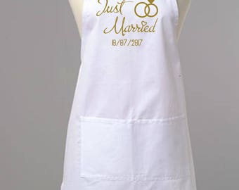 Personalised White Wedding Apron, Personalised Brides Apron, Custom Mrs Apron, Bridal Shower Gift, Bride Apron, Just Married Apron