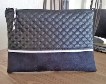 Faux leather, padded, faux Pocket accessory woman, gift