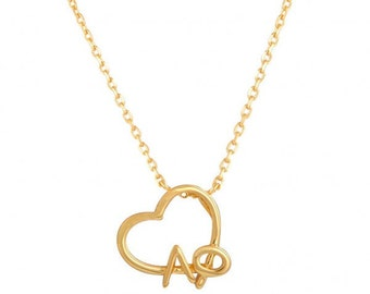 Alpha Phi Heart Lavalier Necklace - Gold plated
