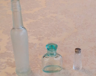 Set of Small Glass Bottles, Antique