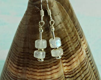 Rainbow moonstone earrings. June Birthstones. Wedding Anniversary Gift for Women. Moonstone Jewellery For Her. 13th Anniversary. A0510
