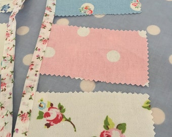 Shabby chic Cath kidston cotton fabric bunting, shabby chic party  fabric  bunting,banners, Garland, wedding bunting, pennants,