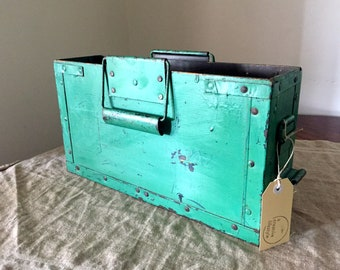 Reserved for Caryn. Vintage wooden green ammunition box. Vintage storage / organisation. Great colour