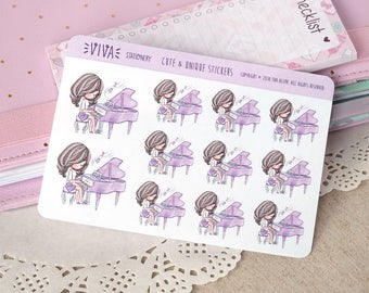 Kawaii Girl Decorative Stickers: Piano class ~Violet~ For your Life Planner, Diary, Journal, Scrapbook...