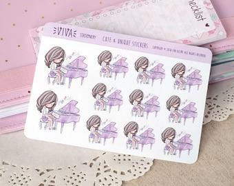 Kawaii autocollants décoratifs pour fille: cours de Piano ~ Violet ~ pour votre agenda, calendrier, Scrapbook, etc..