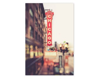 "Chicago Art, Chicago Theater, Chicago Wall Decor, Red Chicago, State Street, Chicago Sign, Urban Chicago, Chicago Skyline - ""Chicagoland"""