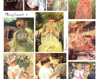 MARY CASSATT digital collage sheet, Victorian women babies children Mothers, French Impressionist paintings, vintage ephemera Art DOWNLOAD