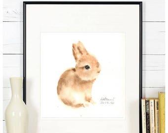 "Original watercolor,bunny painting,""bunny N.3"",original painting,6""x6"",home decor"