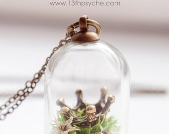 Crown Necklace,Terrarium Necklace,dried Flower jewelry,fairytale necklace,fairytale gift for women,miniature terrarium jewelry gift for her