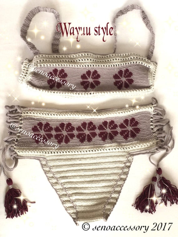 Étnica patrón Wayuu Bikini Crochet Bikini alta talle Bikini