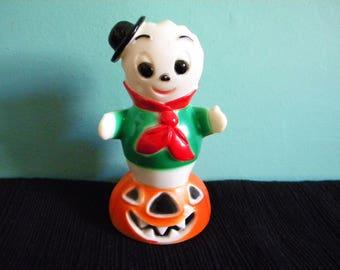 Vintage Fun World Halloween Ghost on Wheels Hong Kong Plastic Toy
