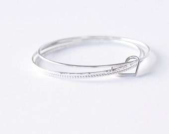 Open Heart Silver Bangle , Sterling Silver Stacking Bracelet, Set of three