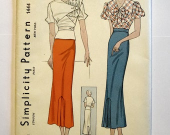 Pristine Uncut Original 1930s Blouse and Skirt Pattern Simplicity 1444
