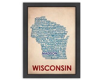 Wisconsin Word Map, 100% Original Design from Flatiron Design