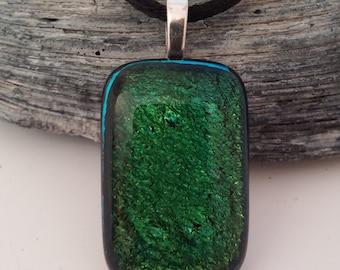 Green Dichroic Pendant, Dichroic Fused Glass Pendant, Dichroic Pendant, Glass Pendant, Fused Glass Pendant – P0035