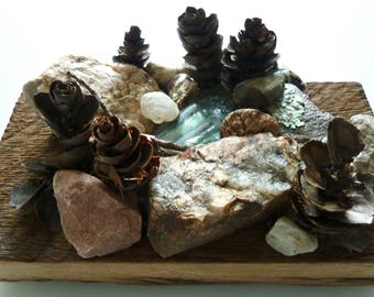 Unique miniature sculpture, old barn wood, mountain glass and stones, tiny Zen garden, wedding gift for outdoor lovers