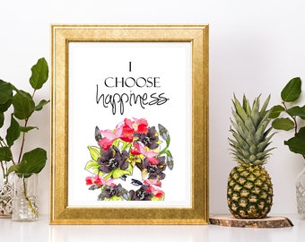 I choose Happiness Print - Instant Download Pink Lotus Purple Orchid Crown