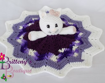 Baby Cat Security Blanket Kitty Lovey Blanket Baby Lovey Crochet Plush Cat Blanket Cuddle Blanket Security Blanket Snuggle Blanket