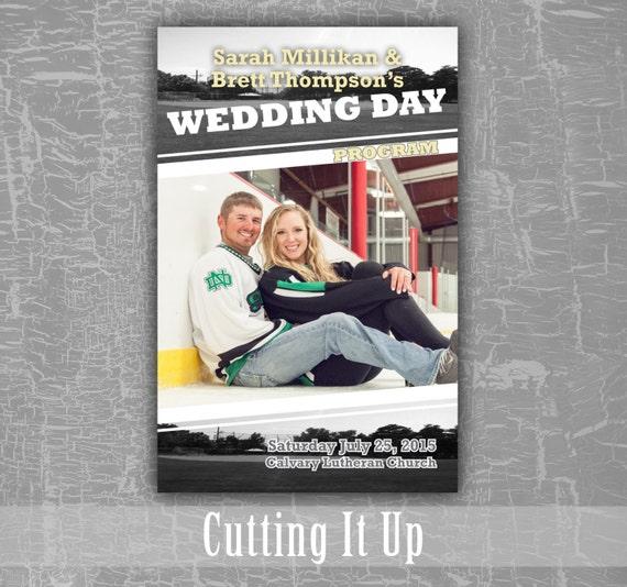 Sports Wedding Program Hockey Theme Favor Football Themed