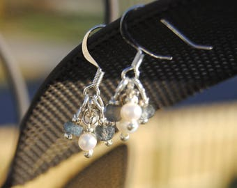 Pearl and Labradorite Earrings