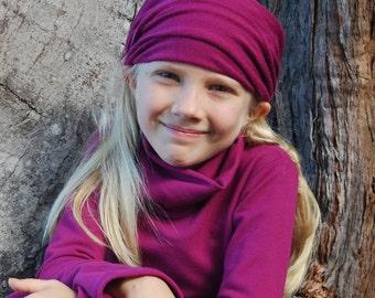 Eco Friendly Kids Slouchy Hat - Children Clothing-  Boho Girls - Bright Berry - Organic Clothing