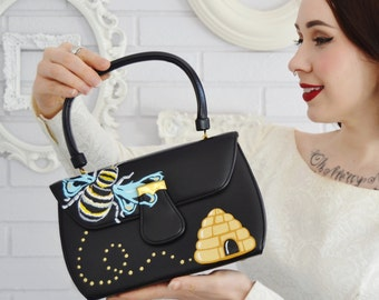 Buzz Off Painted Handbag, Vintage and Upcycled